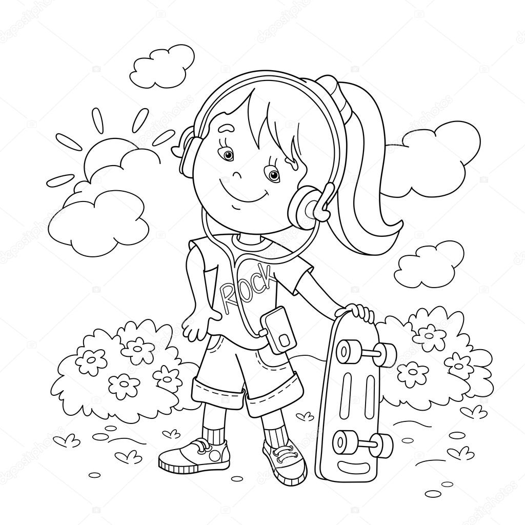 Coloring Page Outline Of girl in headphones with skateboard. Coloring book for kids