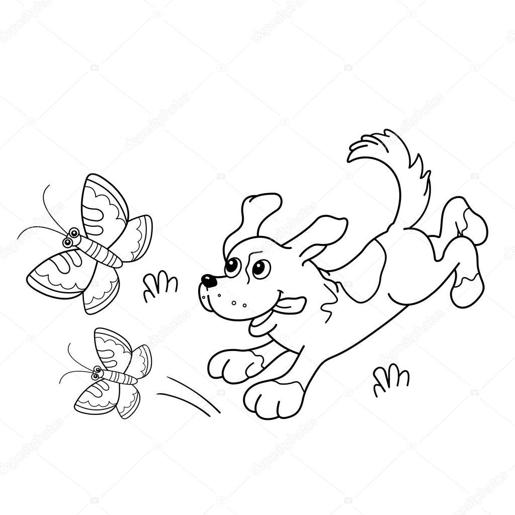 Colorear el contorno de la página del perro de dibujos animados con ...