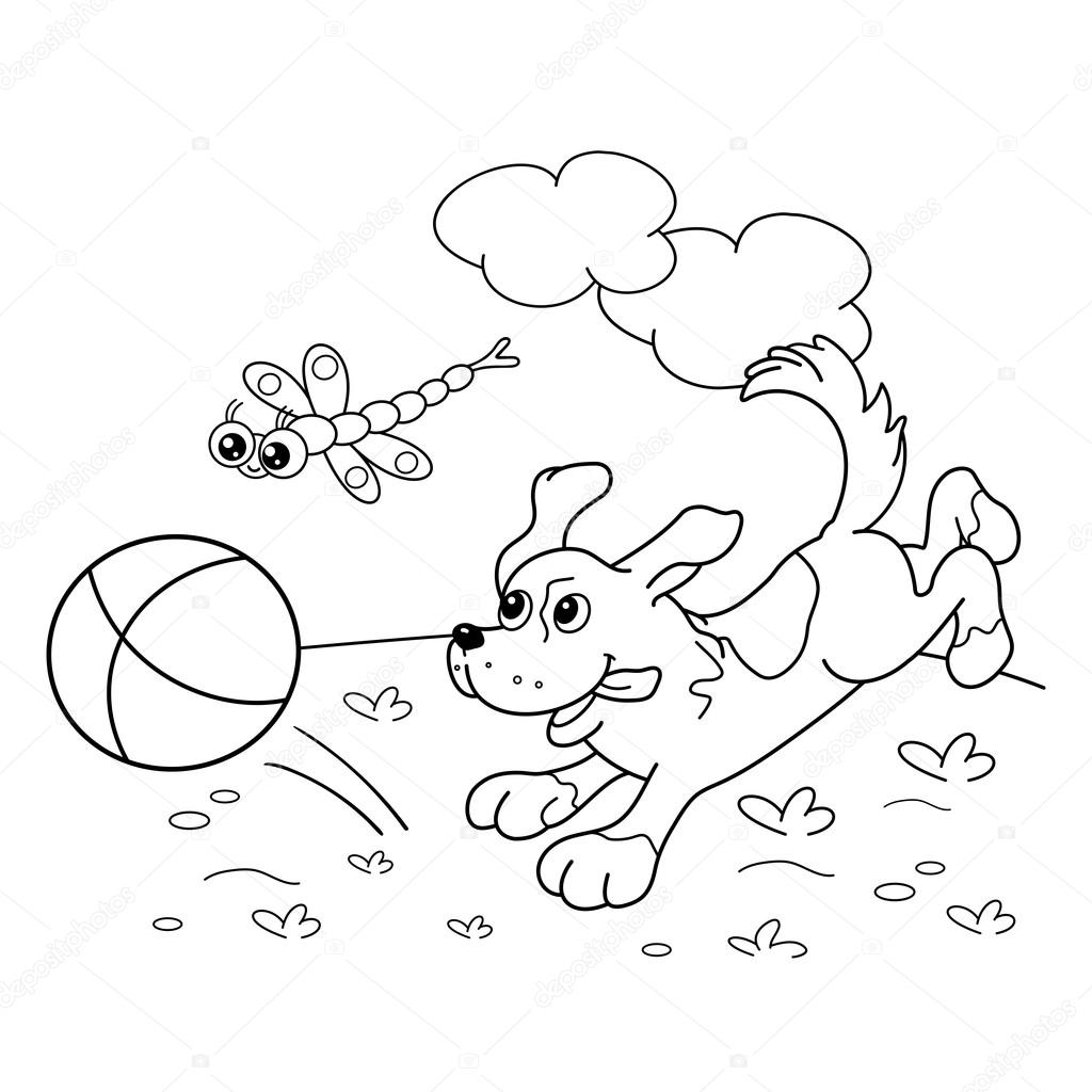 Coloring Page Outline Of dog with ball and with dragonfly — Stock ...
