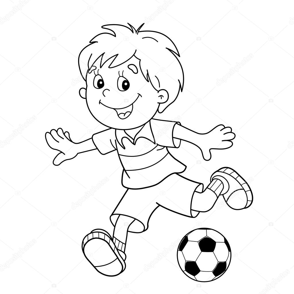 coloring page outline of cartoon boy with a soccer ball footbal