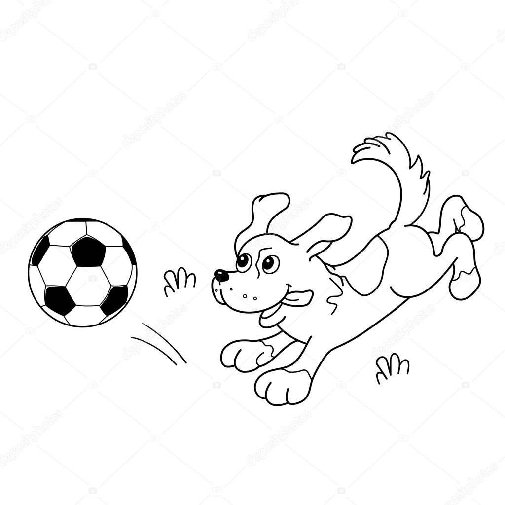 Coloring Page Outline Of cartoon dog with soccer ball