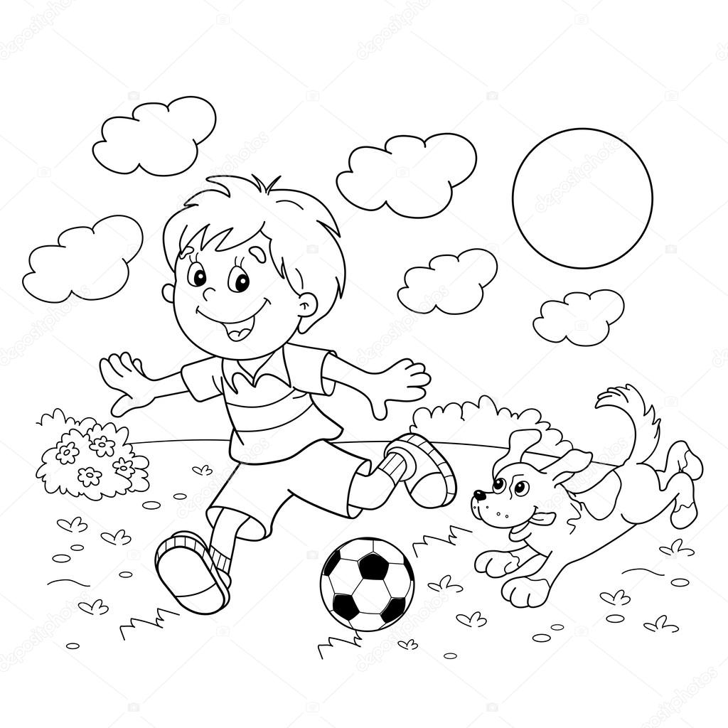 coloring page outline of cartoon boy with a soccer ball with dog