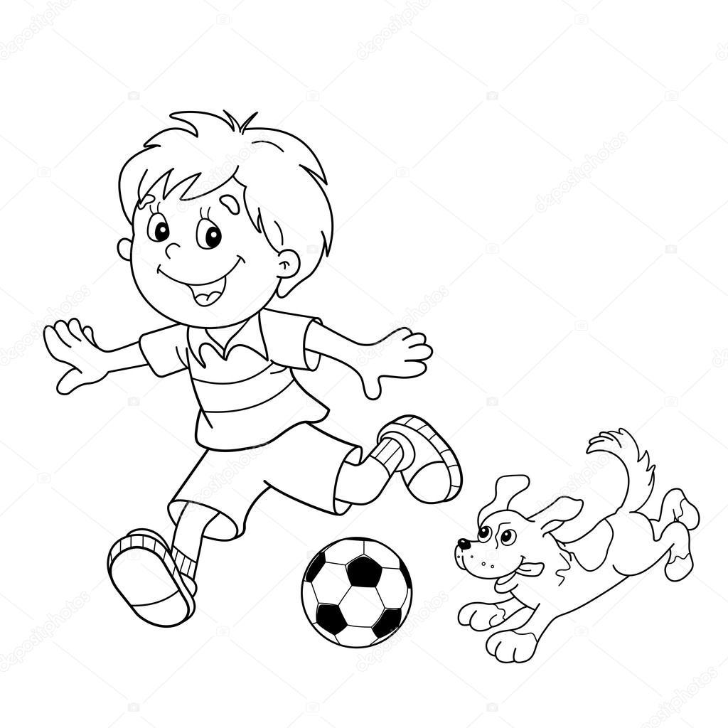 Page Aper§u du gar§on dessin animé avec ballon de soccer avec chien  colorier — Image vectorielle