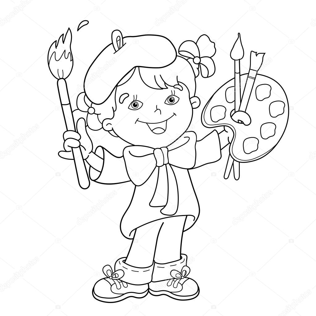 Colorear contorno de la página de dibujos animados chica artista con ...