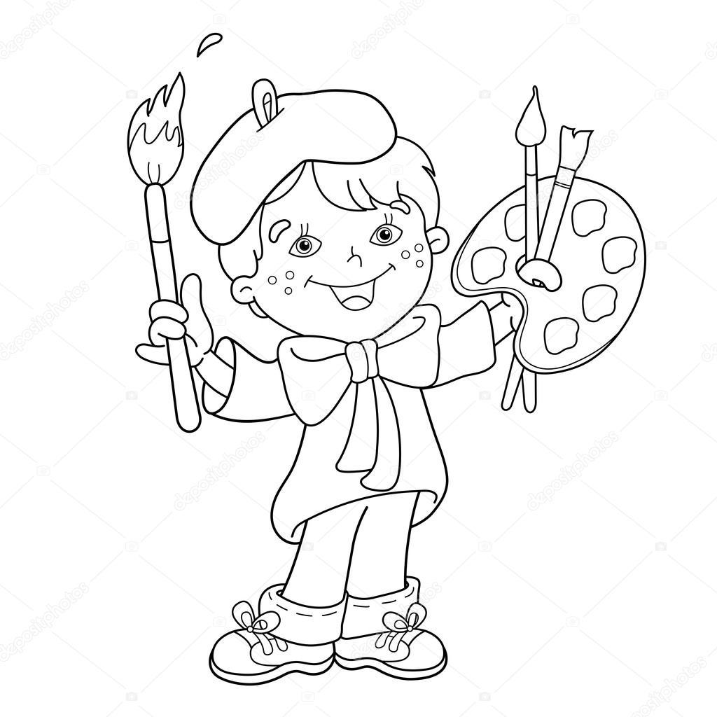 kleurplaat pagina overzicht jongen kunstenaar