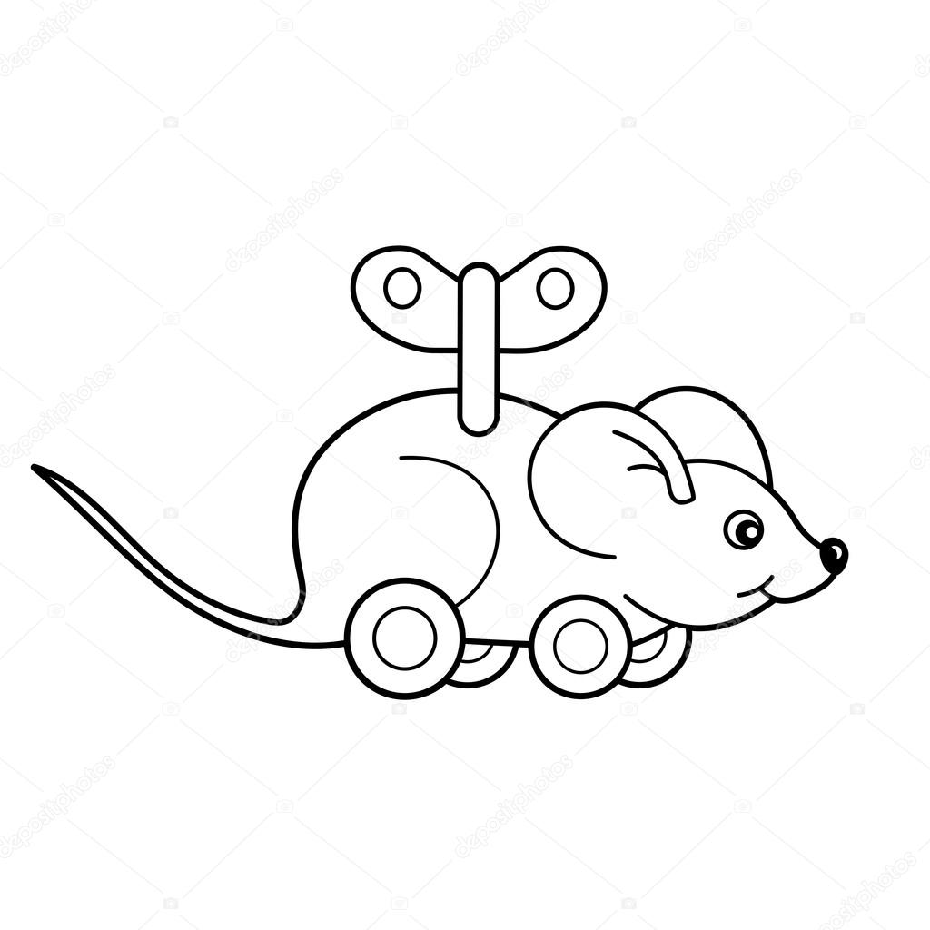 Coloring Page Outline Of toy clockwork mouse. Coloring book for kids ...