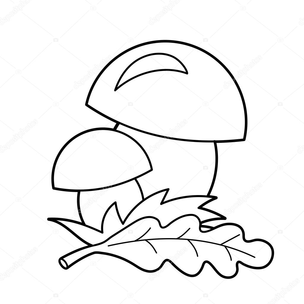 Coloring Page Outline Of cartoon mushrooms. Summer gifts of nature ...