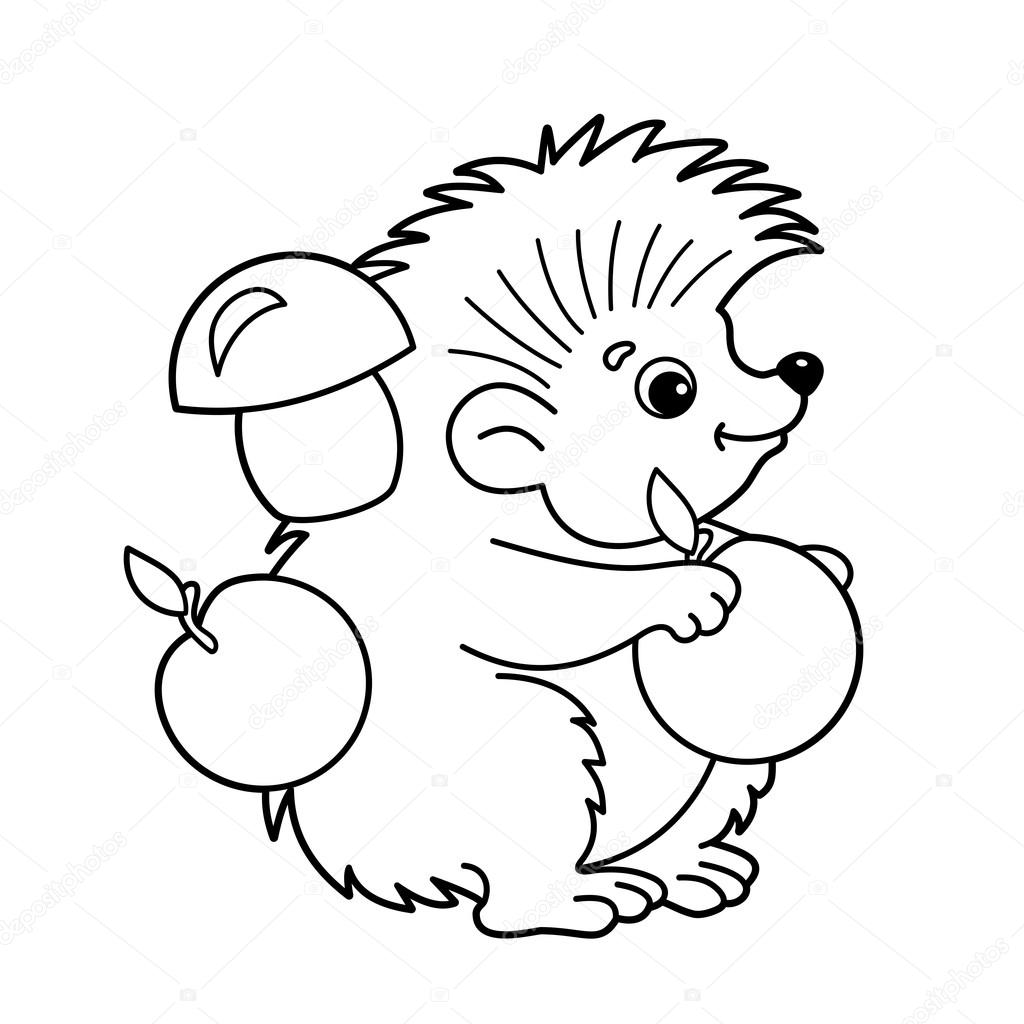 Coloring Page Outline Of Cartoon Hedgehog With Apples And Mushrooms