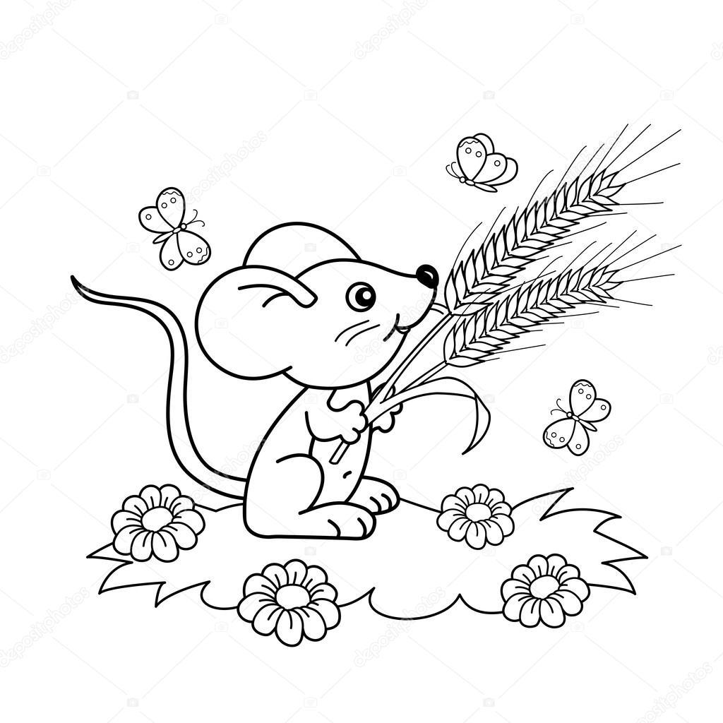 Kleurplaten Kleine Vlinders.Kleurplaat Pagina Omtrek Van Cartoon Kleine Muis Met Aartjes