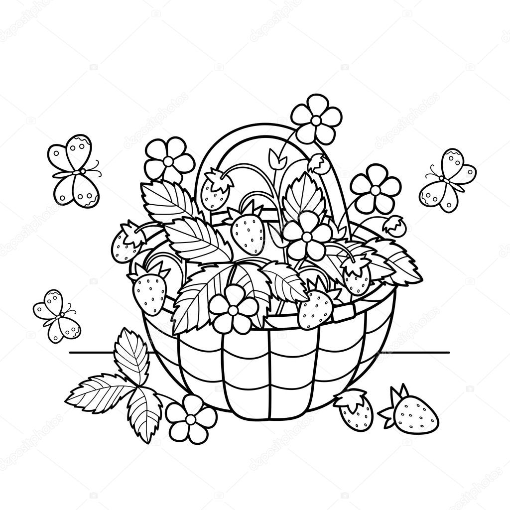 coloring page outline of cartoon basket of berries garden strawberry summer gifts of nature coloring book for kids vector by oleon17 - Nature Coloring Book