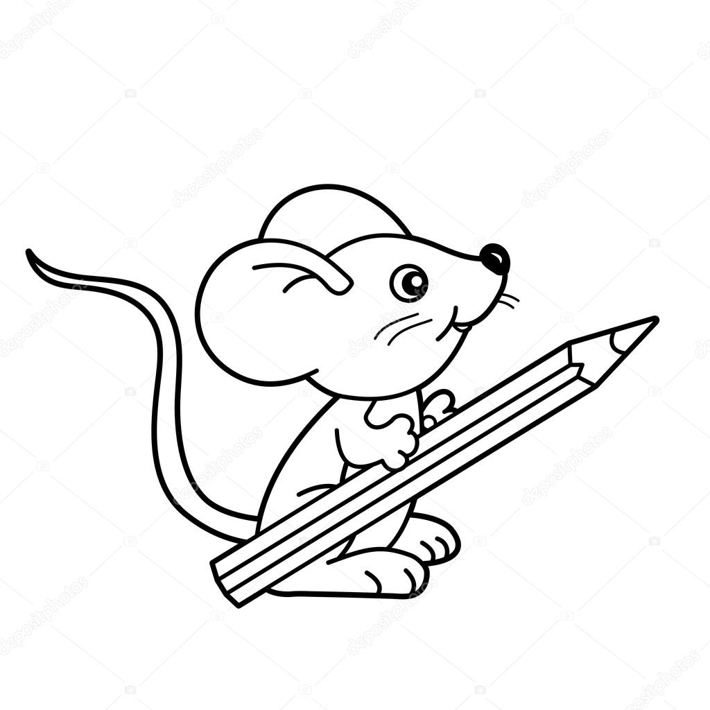 Book For Coloring | Coloring Page Outline Of Cartoon Little Mouse With Pencil Coloring