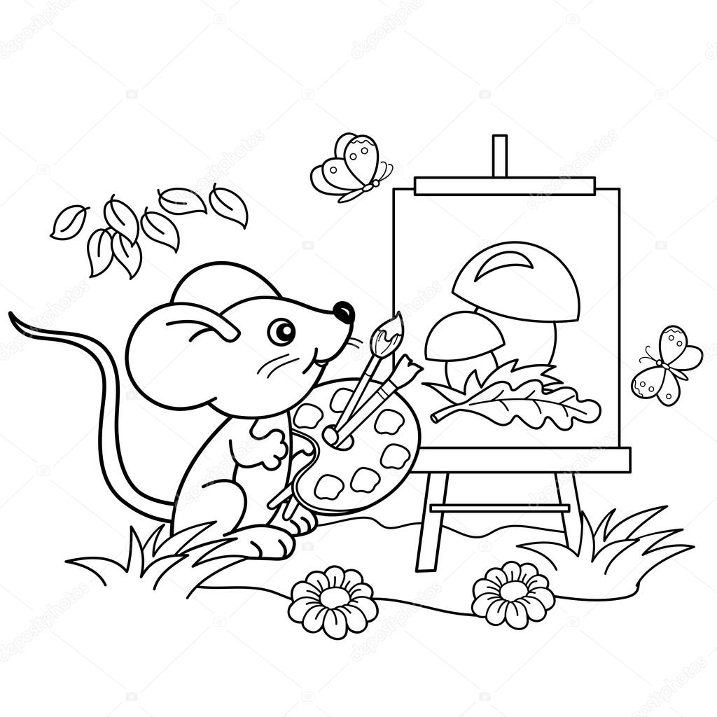 Coloring Page Outline Of Cartoon Little Mouse With Picture Of