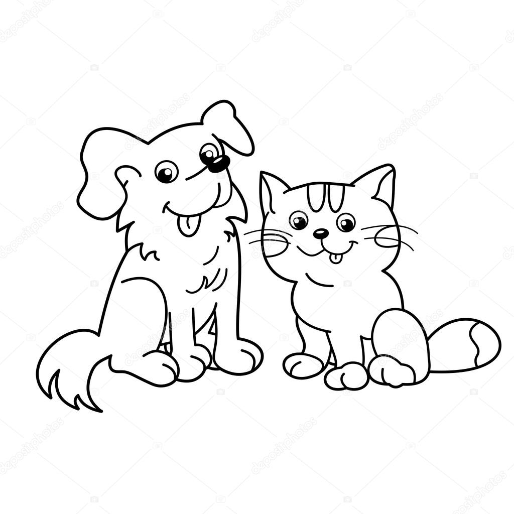 Coloring Page Outline Of cartoon cat with dog. Pets ...