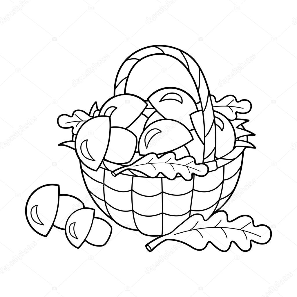 Coloring Page Outline Of basket of mushrooms. Summer gifts of nature ...