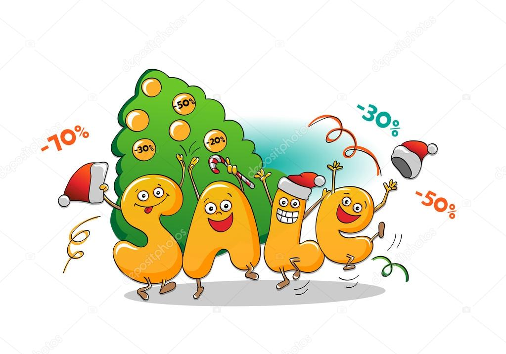 Funny characters of sale: letters on white background .Winter sale. Christmas sale. New year sale.