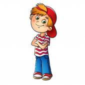 Fényképek Egy piros sapkát és a csíkos póló fiú