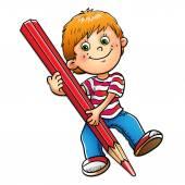 Fényképek Fiatal fiú elszigetelt fehér piros ceruzával