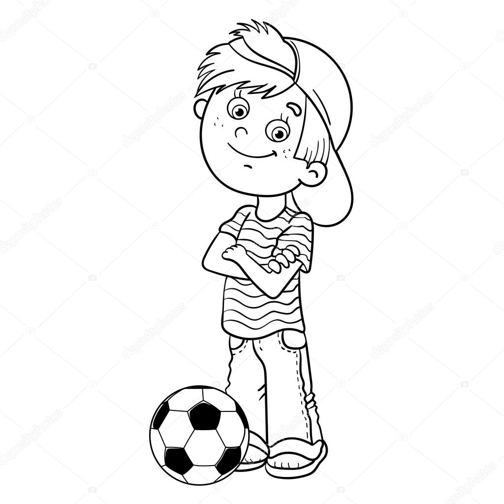 Coloring Page Outline Of a Boy with a soccer ball — Stock Vector ...