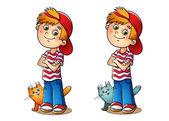 Fényképek Egy piros sapkát és a macska csíkos póló fiú