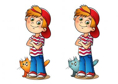 Boy in a red cap and striped t-shirt with his cat