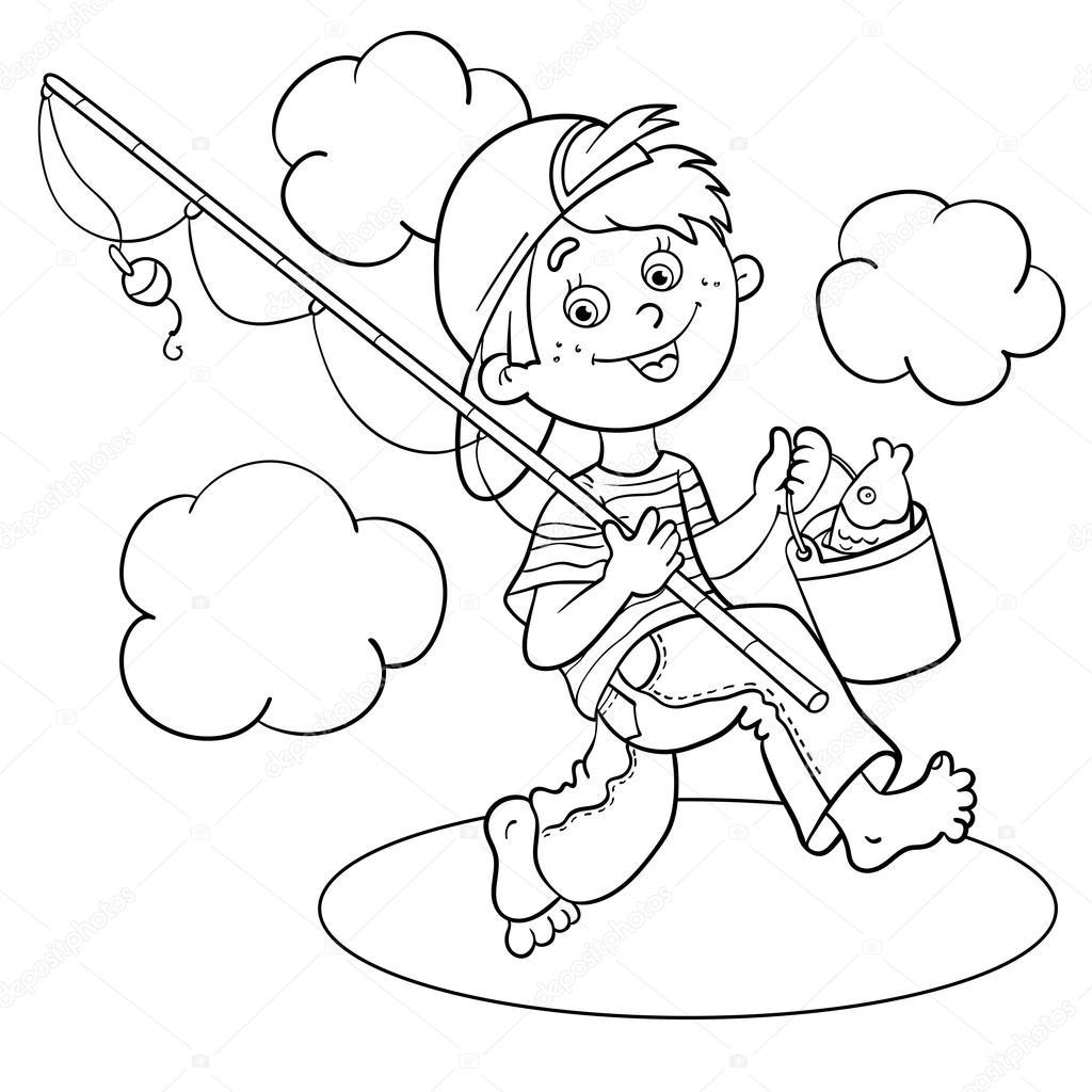 Pescador de página esquema de un niño de dibujos animados para ...