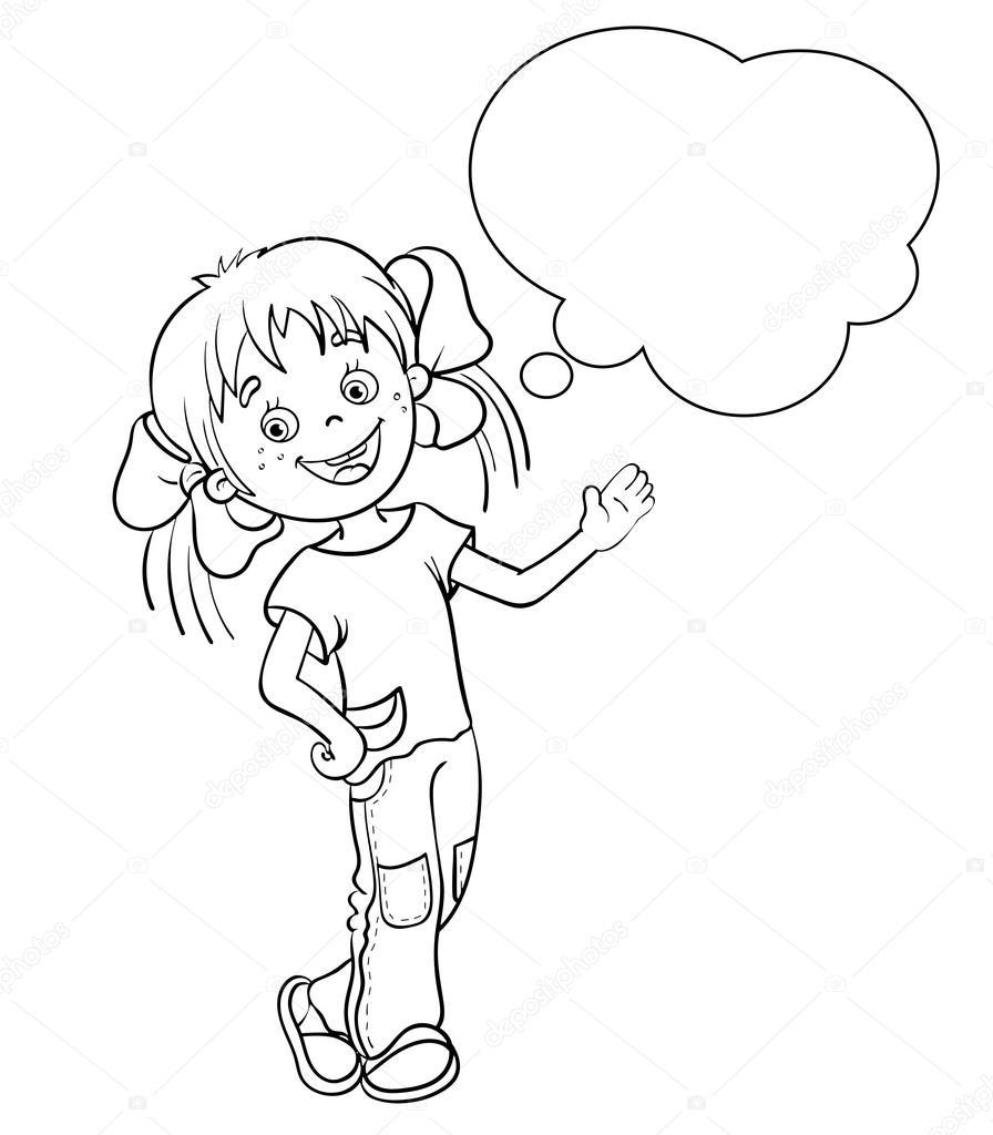 Konuşma Balonu Ile Sayfa Anahat Bir çizgi Film Kız Boyama Stok