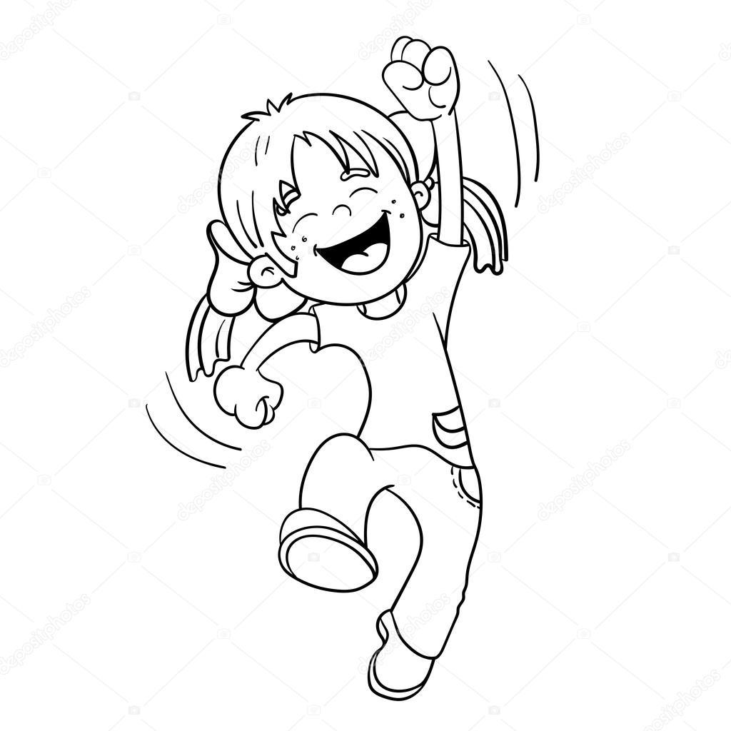 Esquema De Página Para Colorear De Un Dibujo Animado Chica De Salto