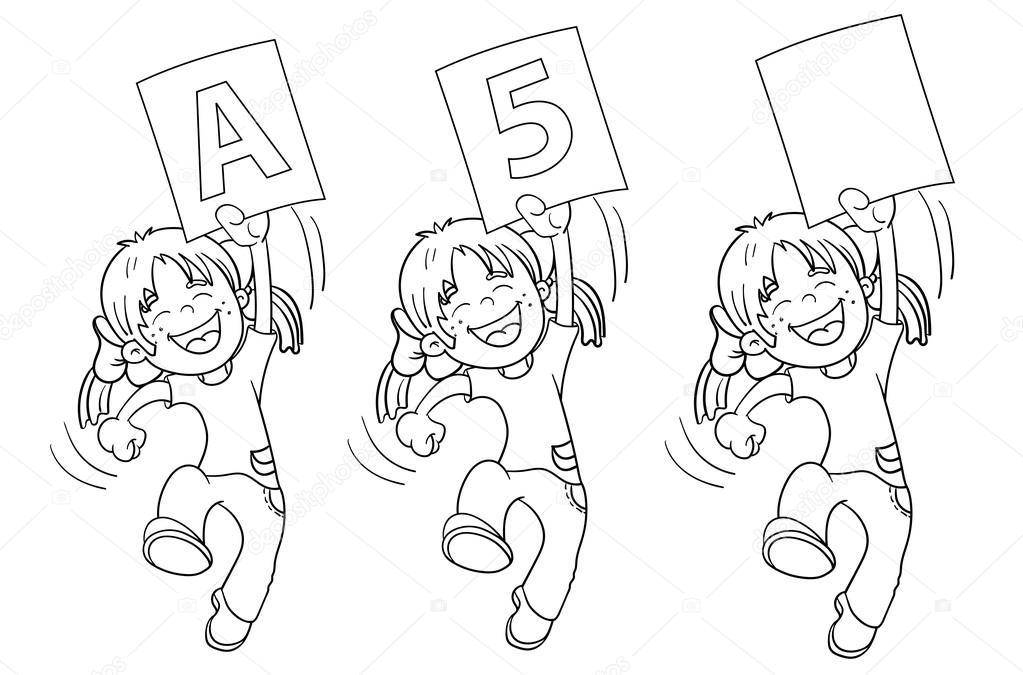 Colorear contorno de página de salto de dibujos animados una chica ...