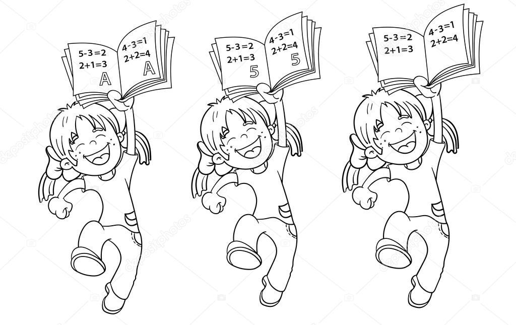 Färbung Seite Outline Of A Cartoon springen Girl mit höchsten Ratte ...