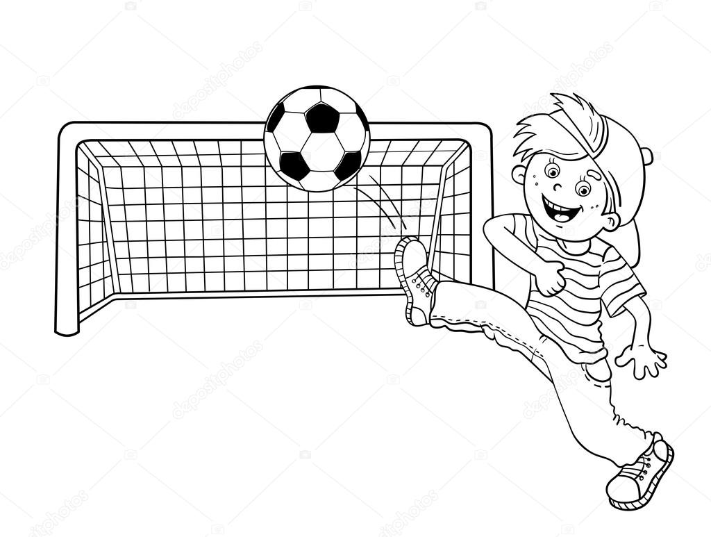 Coloring Page Outline Of A Boy kicking a soccer ball — Stock Vector ...
