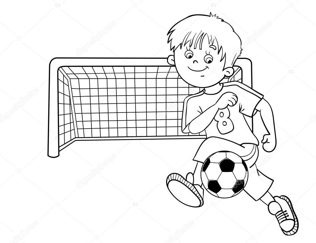 Imágenes Un Niño Pateando Un Balon Para Colorear Esquema De