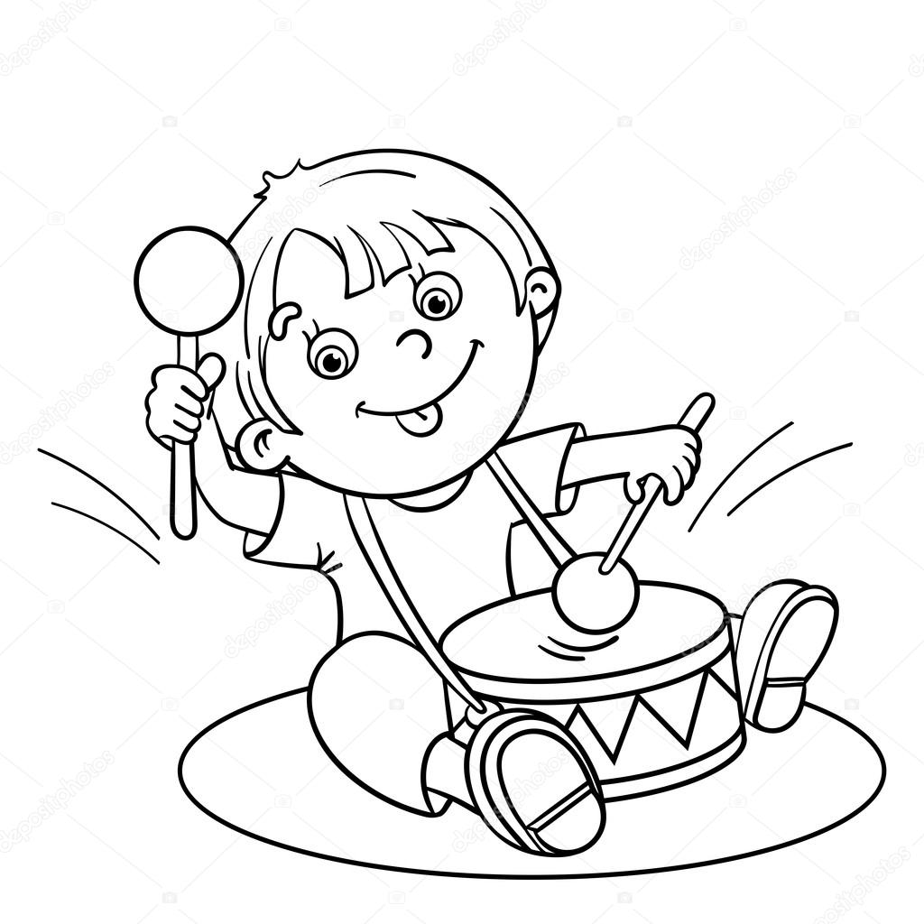 coloring page outline of a cartoon boy playing the drum u2014 stock