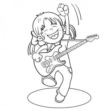 Coloring Page Outline Of a Cartoon Boy with a guitar