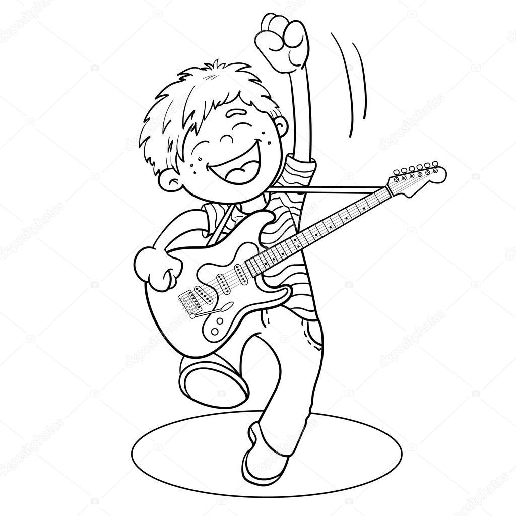 colorir página contorno de um desenho animado menino com guitarra