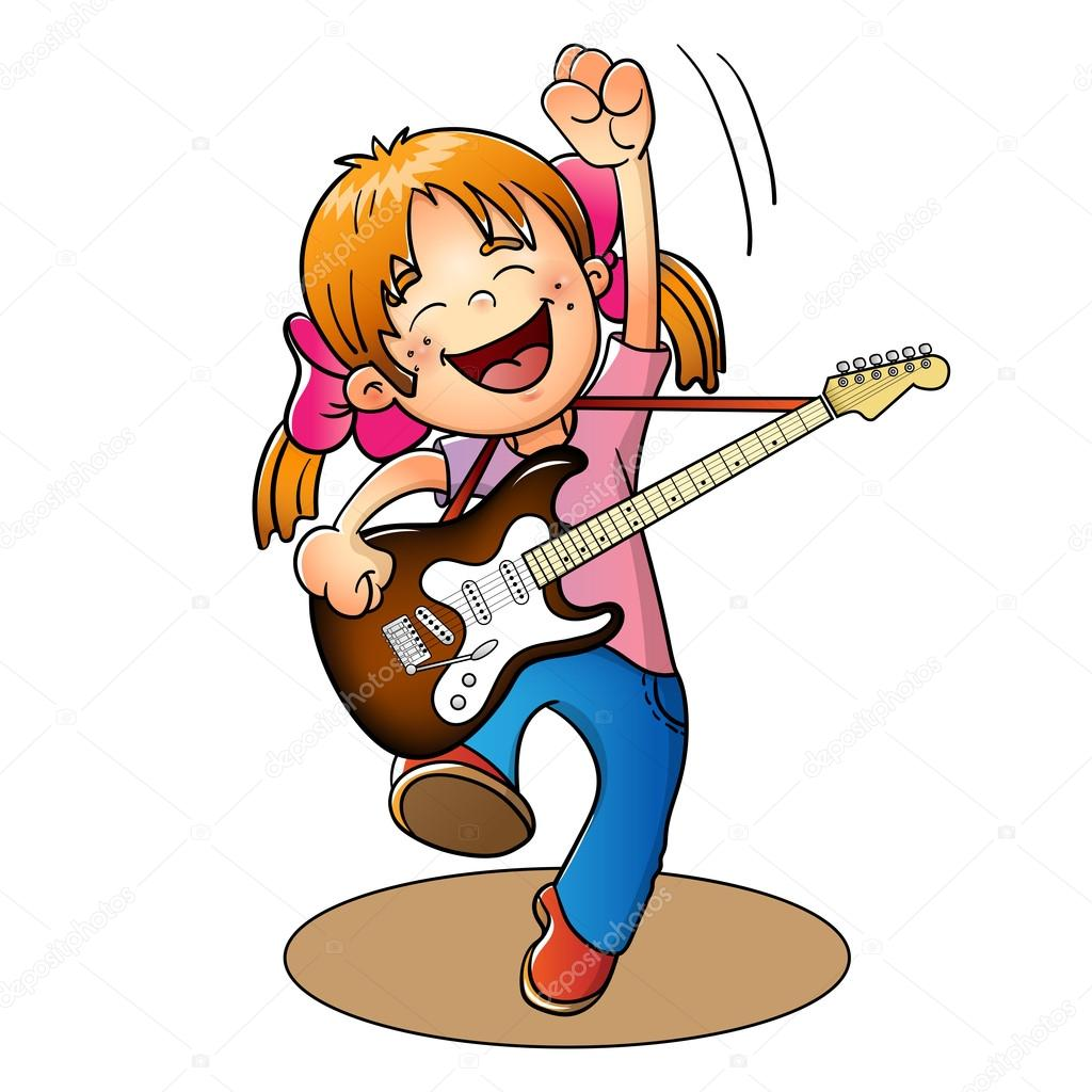 coloring page outline of a cartoon boy with a guitar u2014 stock