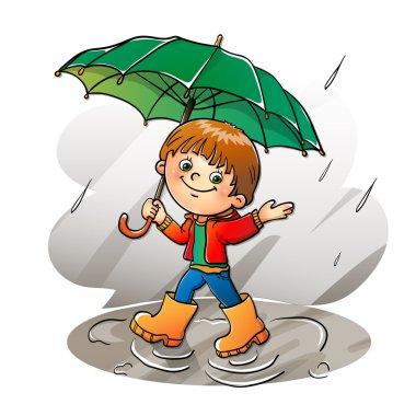 Joyful boy walking in the rain