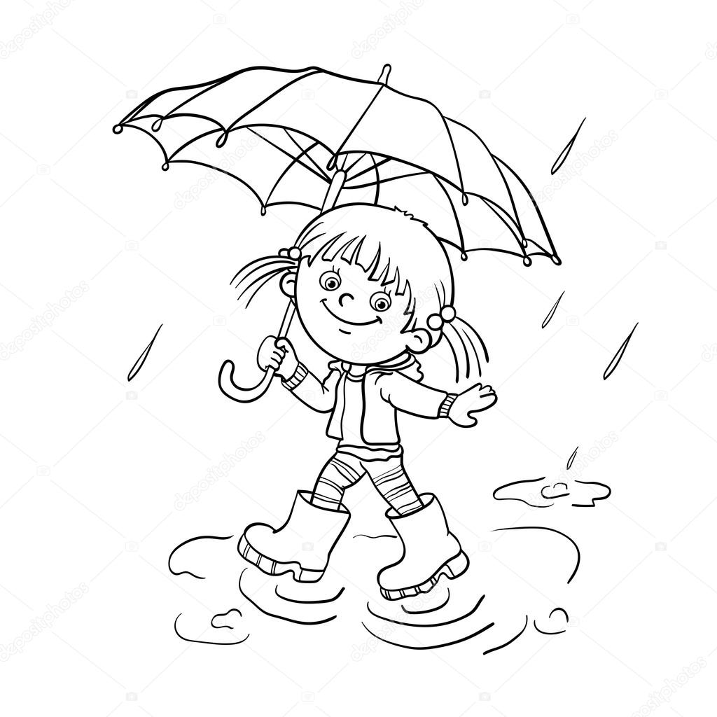 Coloring page outline of a cartoon joyful girl walking in the rain with an umbrella vector by