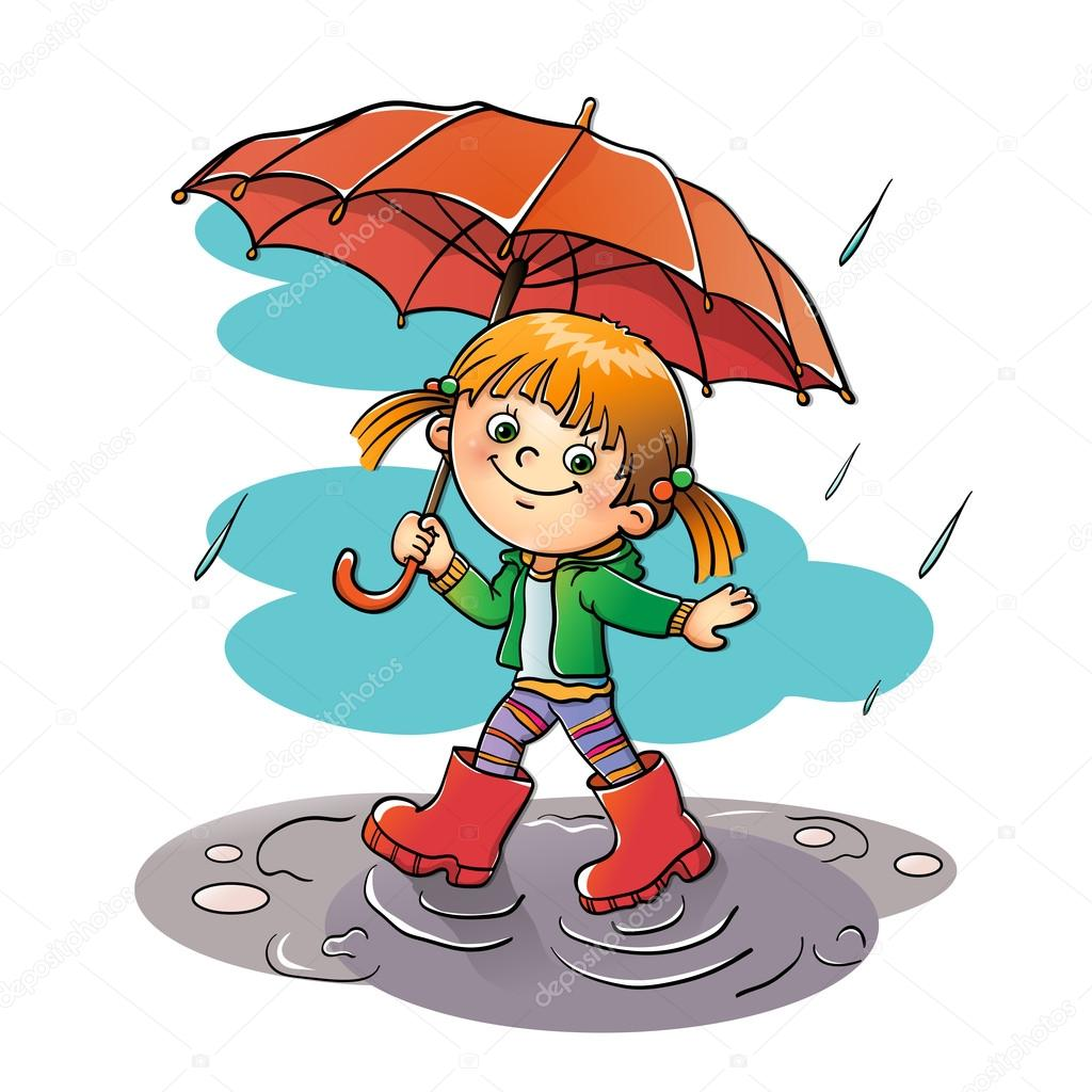 Happy girl walking in the rain with red umbrella