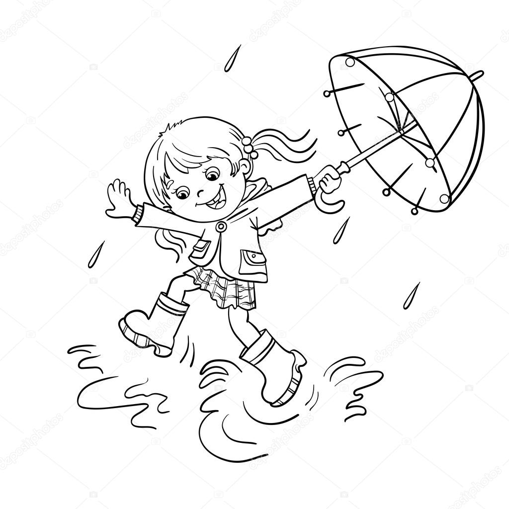 Coloring Page Outline Of a girl jumping in the rain
