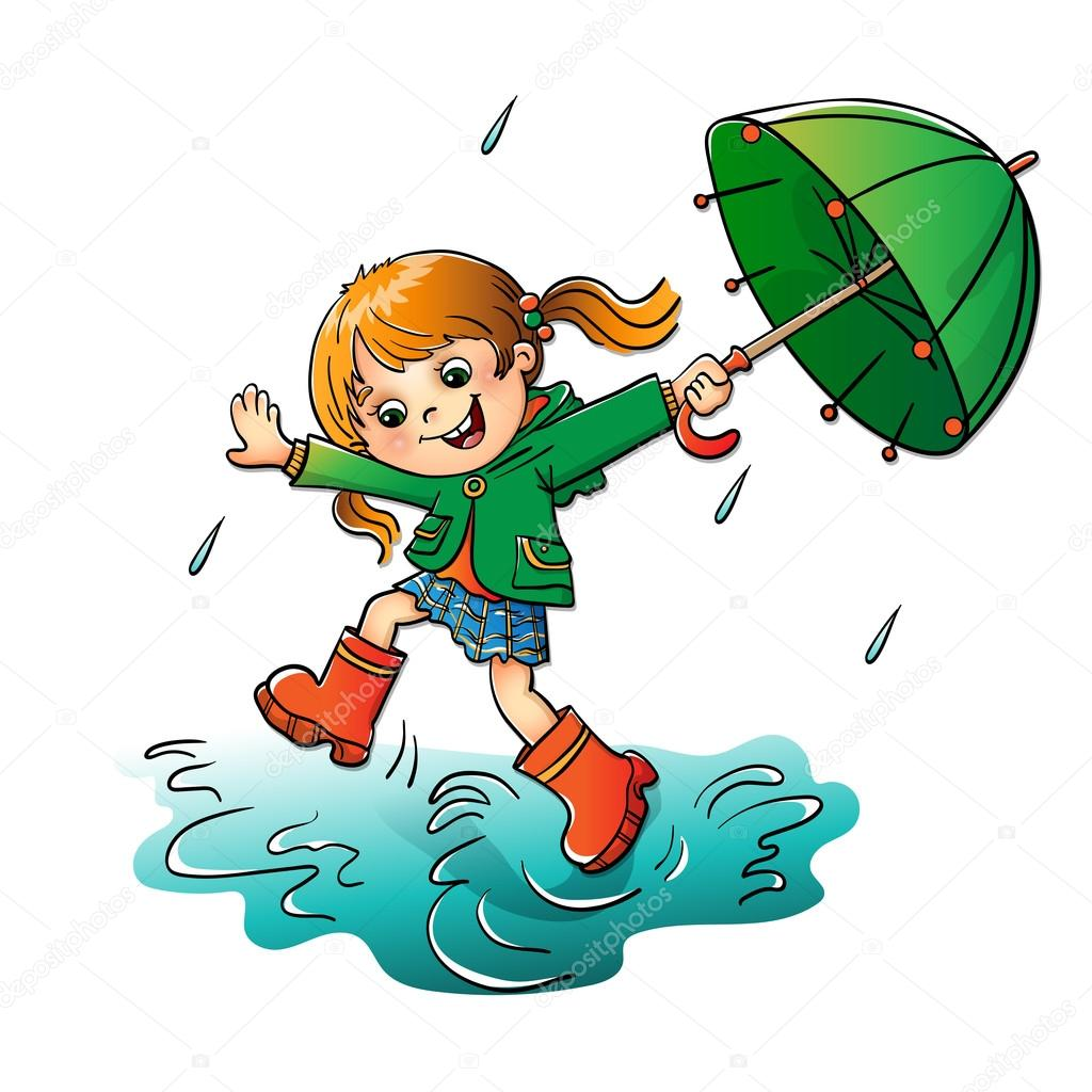 Joyful girl jumping in the rain with the green umbrella