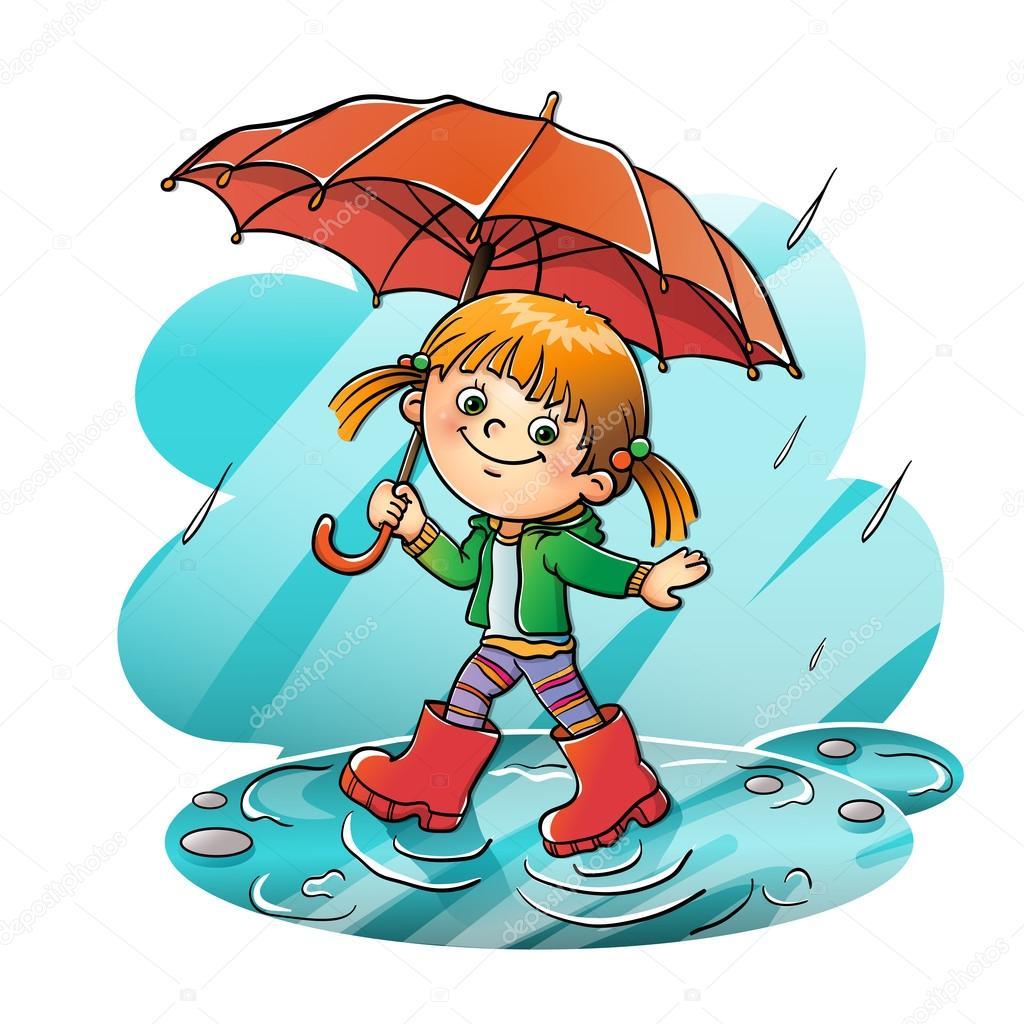 Happy girl walking in the rain