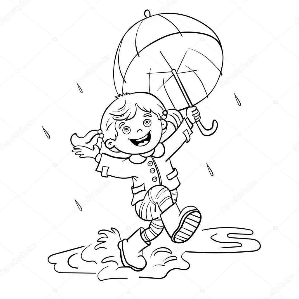 Aper§u de la Page  colorier une fille sautant sous la pluie — Image vectorielle