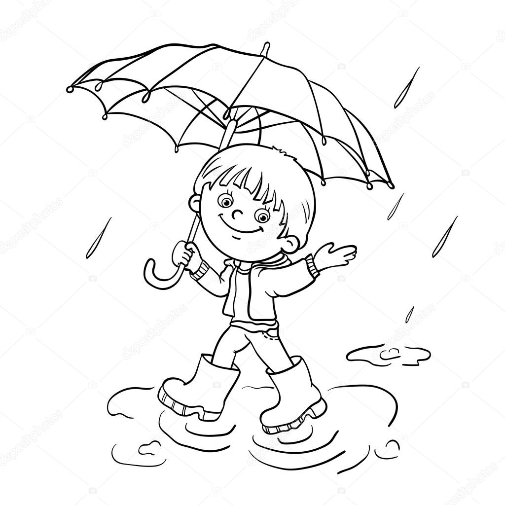 Coloring Page Outline Of a boy walking in the rain