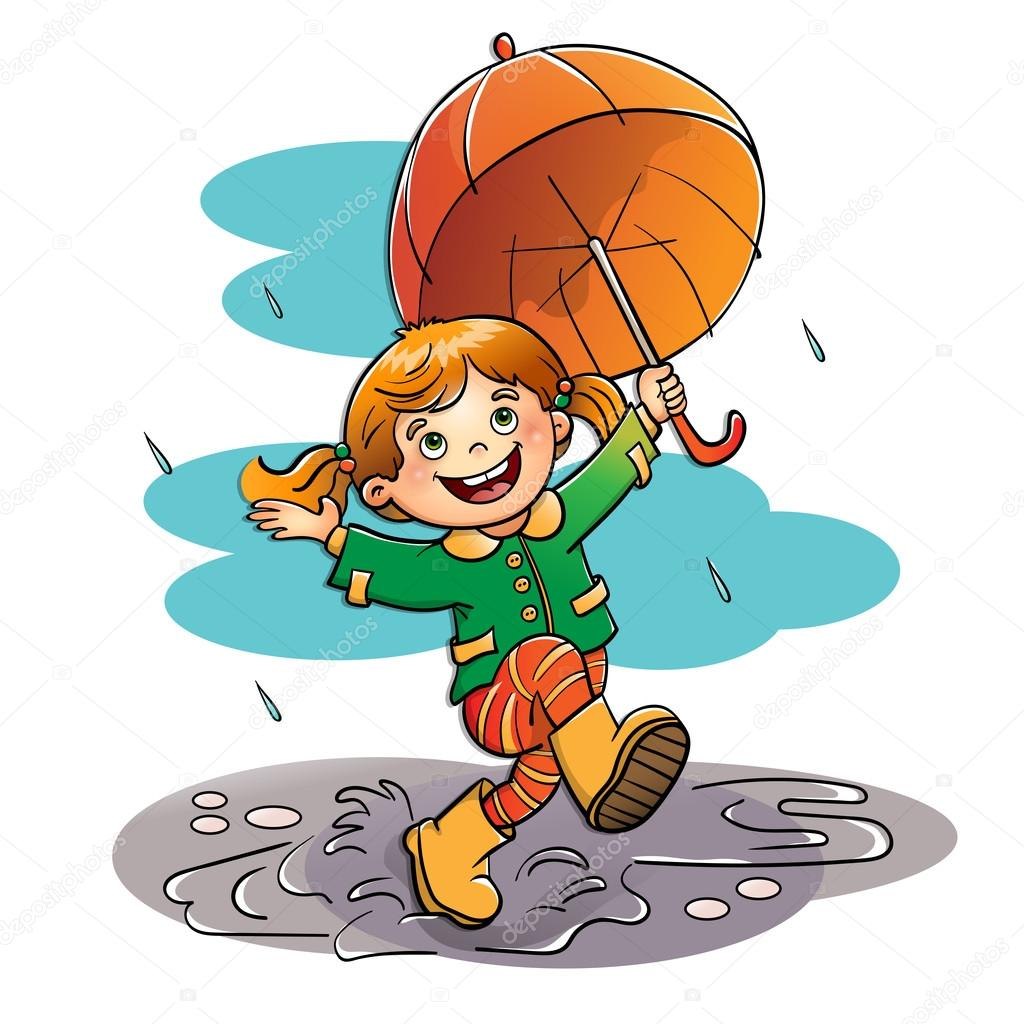 Joyful girl jumping in the rain with an orange umbrella