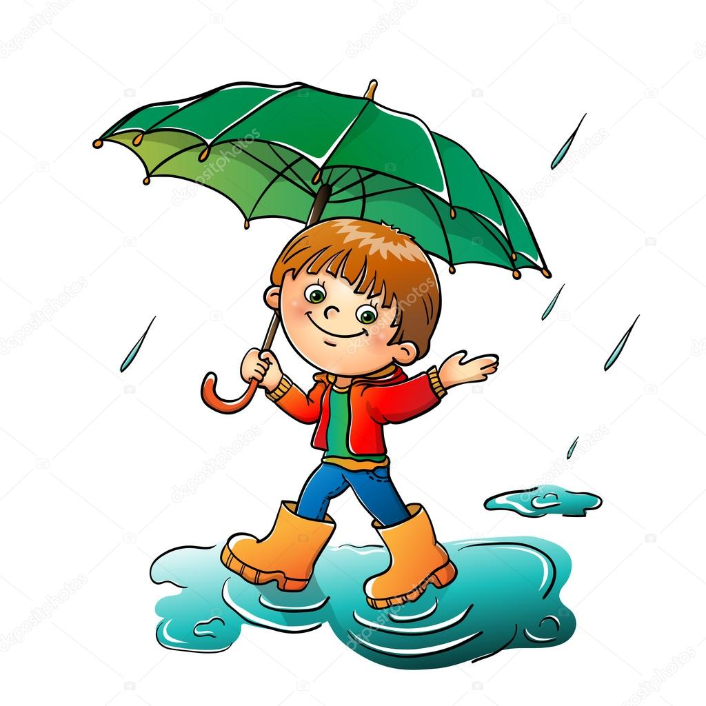 Joyful boy  walking in the rain isolated on white