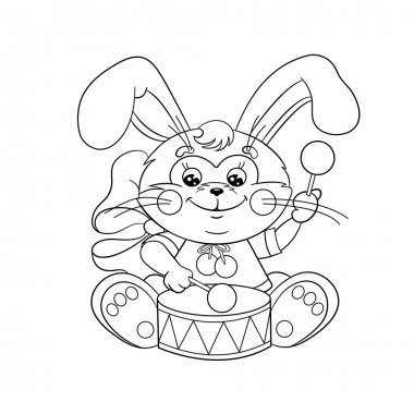 Coloring Page Outline Of a cute Bunny with a drum