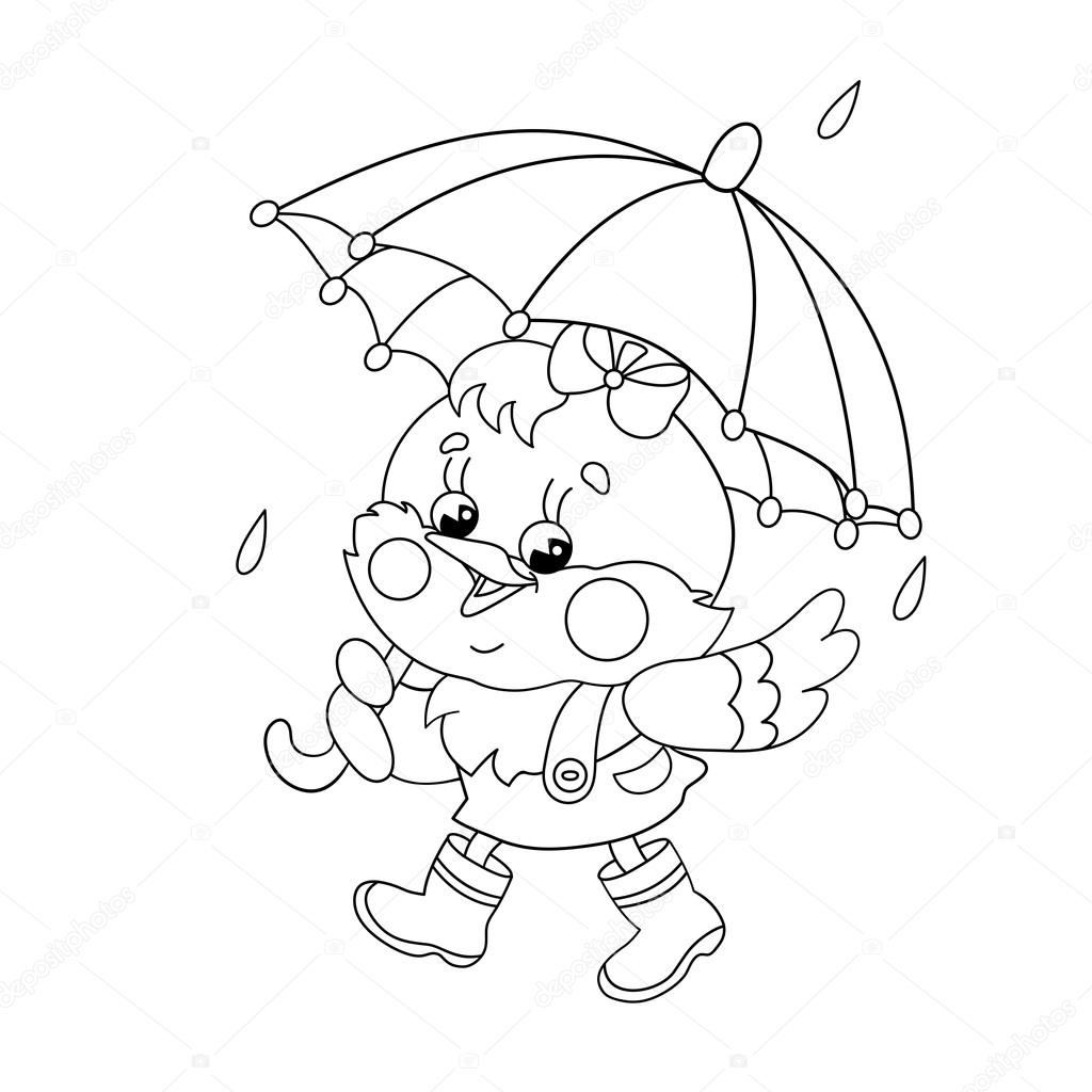 Coloring Page Outline Of a happy chicken walking in the rain
