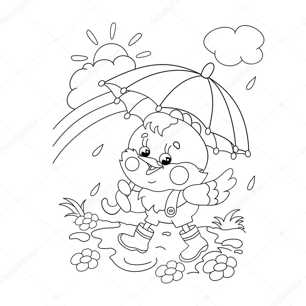Colorear contorno de página de un pollo feliz caminar bajo la lluvia ...