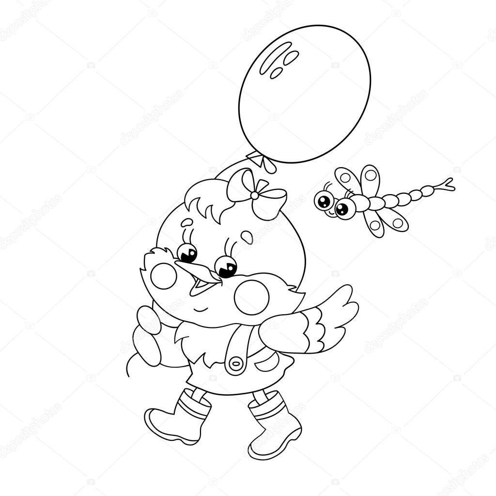Sayfa Anahat Mutlu Bir Tavuk Bir Balon Ile Yürüyüş Boyama Stok