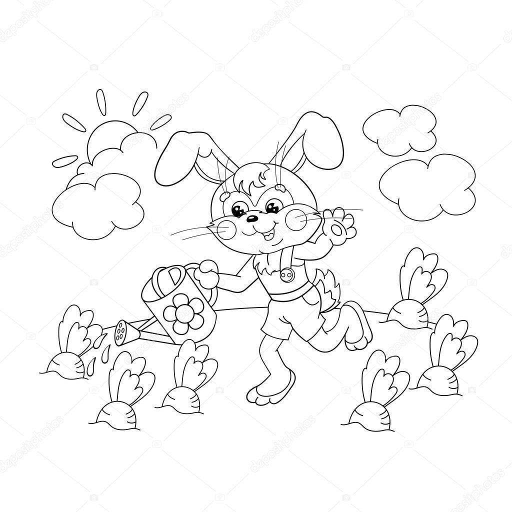 Disegni Da Colorare Pagina Muta Di Un Simpatico Coniglietto Con